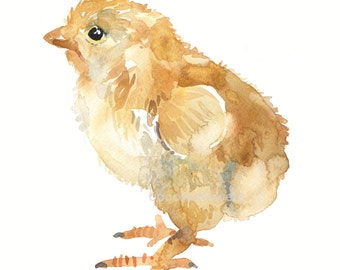 Chick - Baby - Watercolor painting -  Animal Art - size  8x10inches  - Watercolor  Art- Nursery Art Print