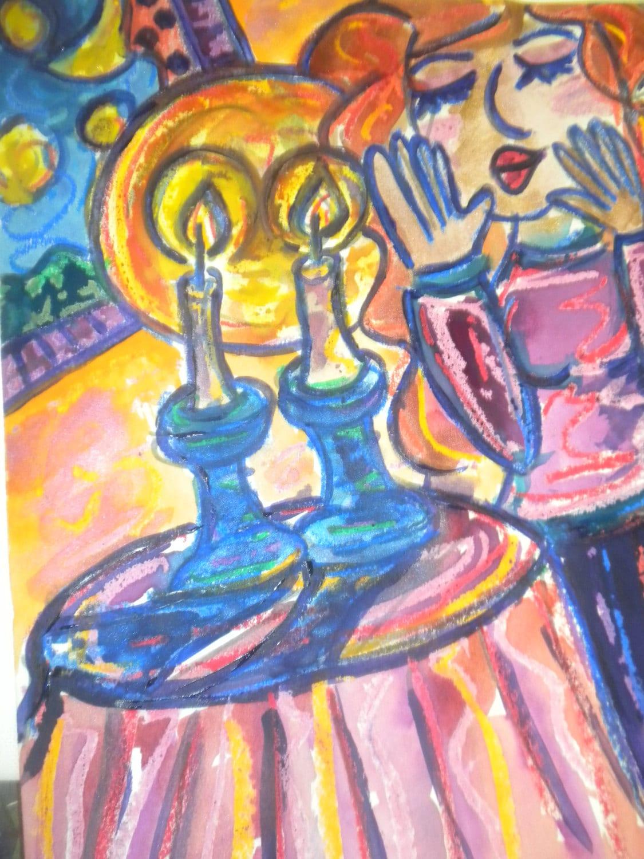 Shabbat Candles Jewish Woman Judaica Art by JulieWohlCreations