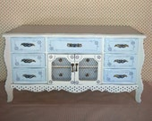 Large wood and brass jewelry box handpainted and stenciled in cottage blues - ValerysGallery