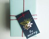 Christmas Gift Tags. Floral holiday Christmas tags. Set of 8. Customizable gift wrap