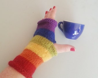 Rainbow fingerless gloves - handknit gloves with no fingers - text gloves - rainbow gloves