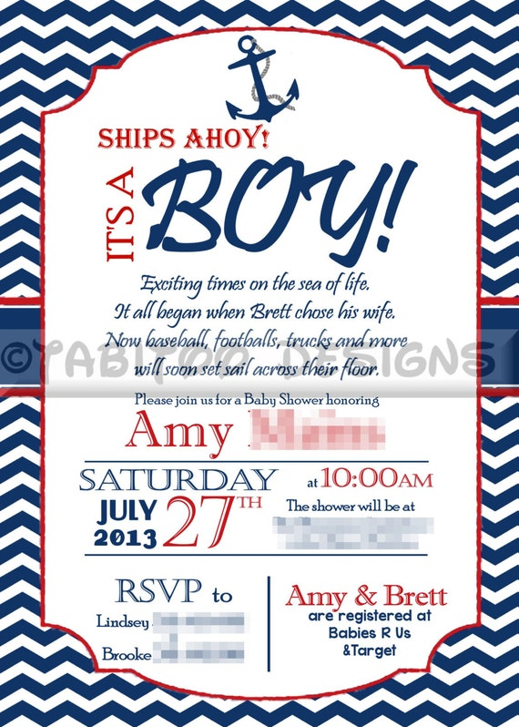 Etsy Nautical Baby Shower Invitations with great invitation ideas