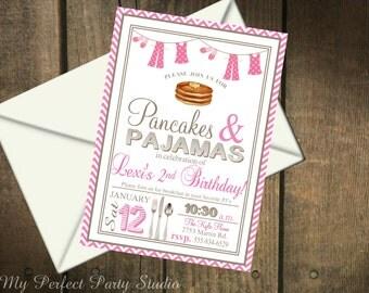 Pancakes & Pajamas Birthday Party Printable PDF Invitation