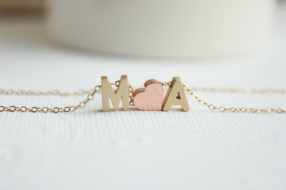 Couples Necklace Gold Initial Necklace Love Necklace Gold