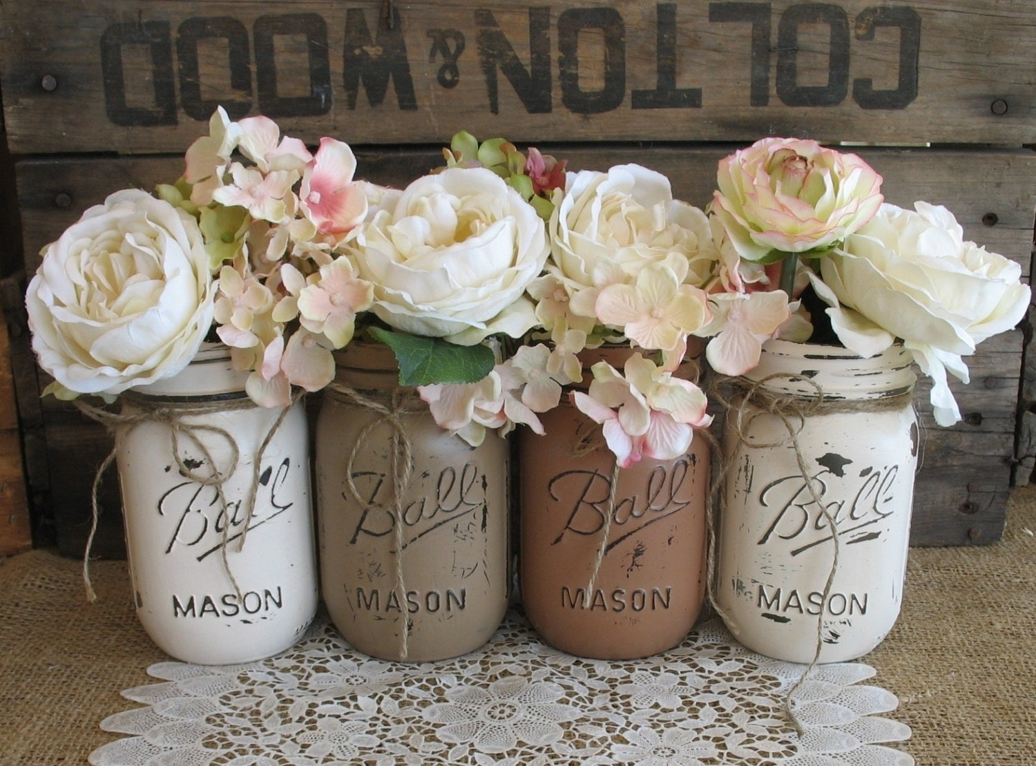 Decorating Mason Jars Sale Set Of 4 Pint Mason Jars Ball Jars Painted Mason