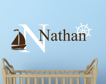 Personalized Name Decal Sailboat Name Decal Nautical Decal Nursery Decor - Underwater Decal Kids Room Decor