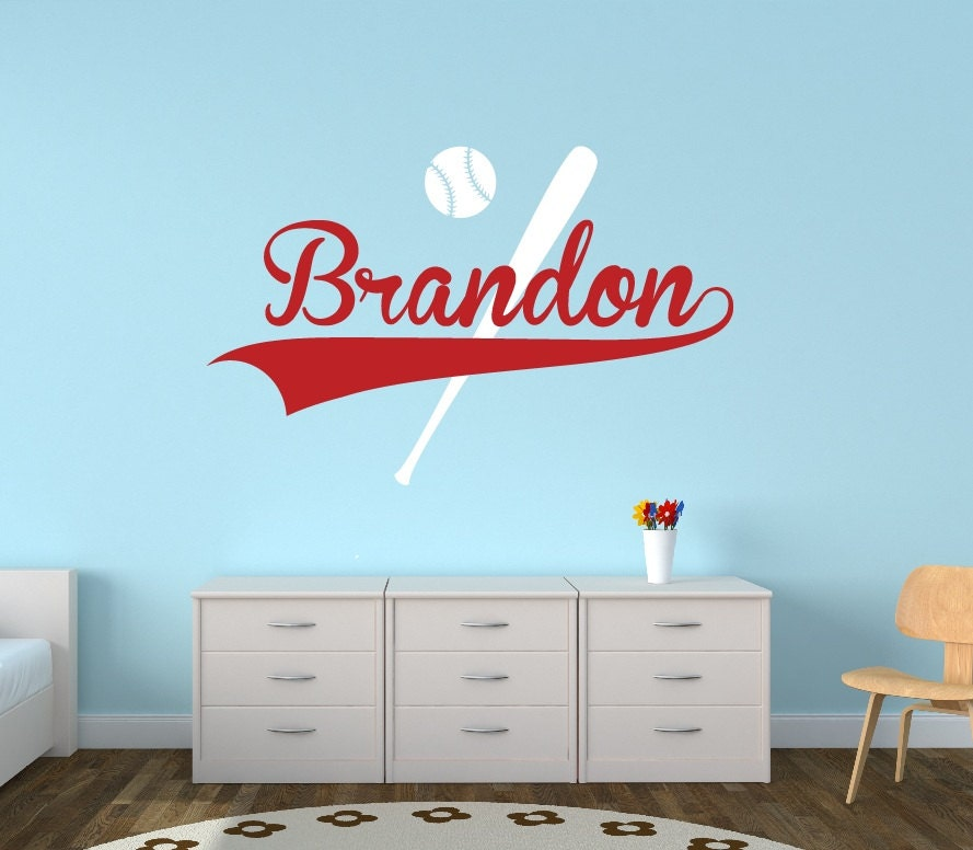 personalized baseball name wall decal boys name wall decal. Black Bedroom Furniture Sets. Home Design Ideas