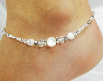 Anklet, Ankle Bracelet, White Mother of Pearl Cat Eye Fiber Optic Beaded Anklet Swarovski Crystals, Beach Vacation Resort Cruise Pool Summer