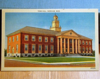 Vintage Postcard, Town Hall, Wareham, Massachusetts, 1940s Linen Paper Ephemera