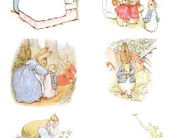 Complete Beatrix Potter's The Tale of PETER RABBIT Illustrations (8cm or 3.2 inch illustrations) Instant Digital Download: 5 JPG included