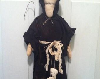 Primitive Skeleton Zombie Grim Reaper with skulls Doll, Handmade Halloween Doll, Skeleton Doll, Halloween Doll