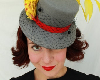 Custom Order: Vintage 1940s-Style Grey Wool Felt Tilt Topper Hat with Chenille Dot Veiling and Yellow Faux Bird