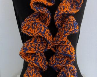 Orange Blue Crochet Ruffle Scarf, Crochet Scarf Ruffle, Orange Blue Scarf, Hand Crochet Scarf, Chunky Crochet Scarf, Football Team Scarf