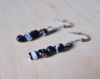 Pierced earrings Murano glass beads series black, gray, white dangles