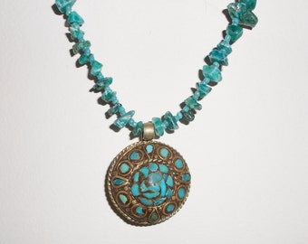 Vintage silver India pendant and turquoise nugget necklace 1970s vintage necklace