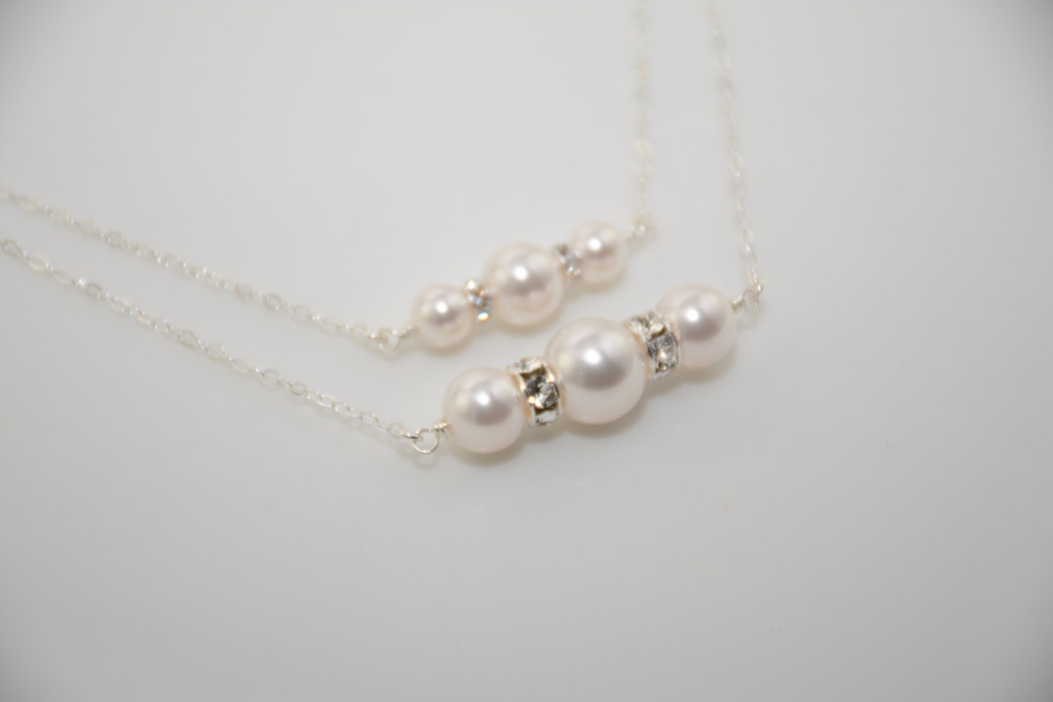 Mother daughter gift Pearl necklace set Swarovski pearls