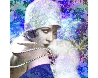 Flapper, 1920 s vintage goddess, digital print, photomontage, digital art, art deco, modern art, roaring 20 s, fine art, home decor, prints