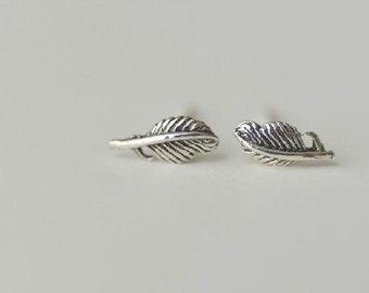 925 Sterling Silver Feather Retro Silver Stud Earrings S267