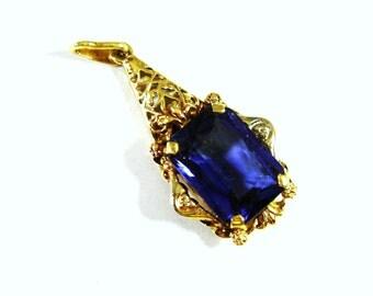 Vintage Blue Sapphire 14k Gold  Pendant, September Birthstone