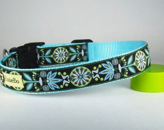 "Turquoise & Green Scroll Spring Summer Dog Collar, 1"" Wide"