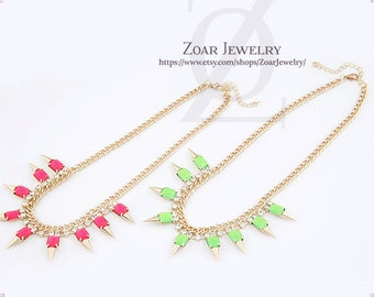Spiked Necklace with Neon Bubble Bib Statement Fashion Party Necklace