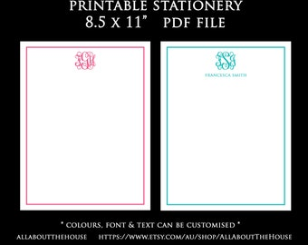 Printable Monogram Stationery 8.5 x 11 inches Notecard, pink green purple blue diy notepad personalised preppy letterhead 8.5 x 5.5