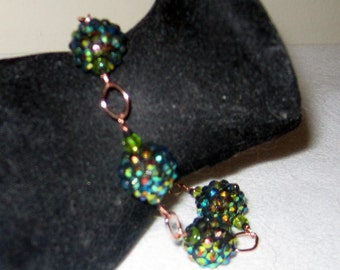 Green Gold and Copper Sparkly Artisan Bracelet