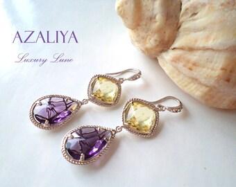 Amethyst Quartz und Limoncello Crystals Chandeliers in Silver. Azaliya Luxury Line. Bridal, Bridesmaids Gift.