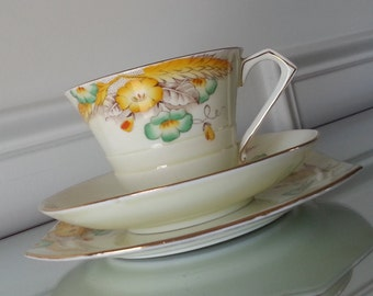 Antique Paragon Wheatear Tea trio, art deco tea cup and saucer with dessert plate, floral and wheat  English bone china tea set