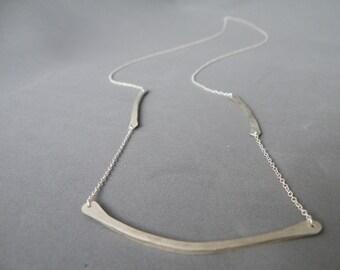 Long fine silver bar necklace modern minimalist necklace by SteamyLab