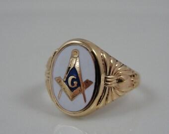 Vintage Gold and White Enamel Masonic Mason Signet Ring, MYDNRK-P