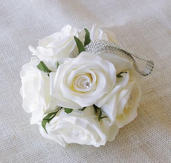 Ivory Flower Ball: Wedding Flower Girl Pomander Bling Rose Ball Ivory By Wedideas