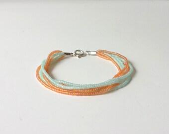 Peach and mint bracelet, beaded bracelet multistrand bracelet, peach bracelet, seed bead bracelet, mint bracelet, bracelet,beaded bracelet