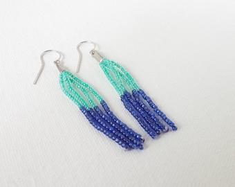 Teal and blue earrings,seed bead earring, turquoise earrings, navy blue earrings, fringe earrings, beaded fringe earrings, Gift for Her