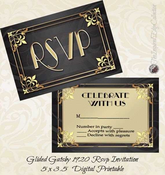 gilded gatsby 1920 rsvp instant download invitation