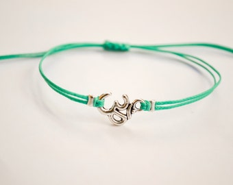Om bracelet for kids, silver Om charm bracelet for a child, turquoise cord bracelet. children's jewelry, protection, yoga lucky charm, gift