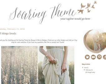 INSTANT DOWNLOAD - Premade Blogger Template - Soaring