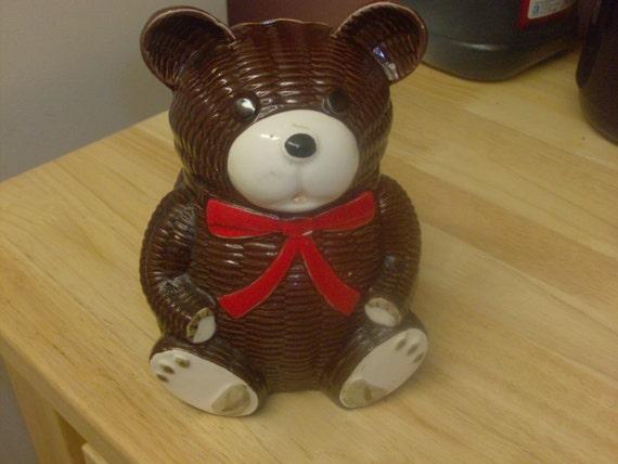 Vintage ceramic Teddy bear bank Lodge Cabin Christmas Decor