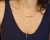 Delicate Layered Necklaces, set of 4 //  Thin Gold Chain, 14K Gold Fill //  Dainty, Delicate Necklace Set  by Layered and Long LS902