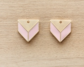 2 pcs of Pastel Pink Geometric Enamel Gold Plated Zinc Alloy Pendants - 20 mm