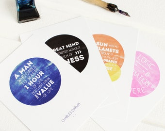 SCIENCE QUOTE POSTCARDS Writing Set  Einstein Darwin Galileo Aristotle Famous Matching Colour Envelopes Gift For Her Pink Pen Pal Snail Mail