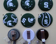 Retractable Badge Holder - Fabric Covered Button - Michigan State University