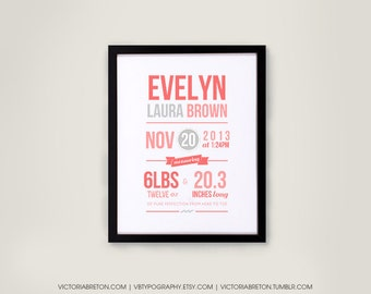 Custom Birth Print -11x17 typography print, custom baby print, baby decor, nursery decor, baby shower gift, custom name print, christmas