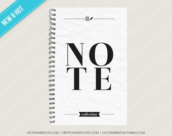 """Note Collection- 5.5"""" x 8.5"""" typography notebook, journal, diary, study notes, school notebook, agenda, travel journal, dorm, christmas gift"""