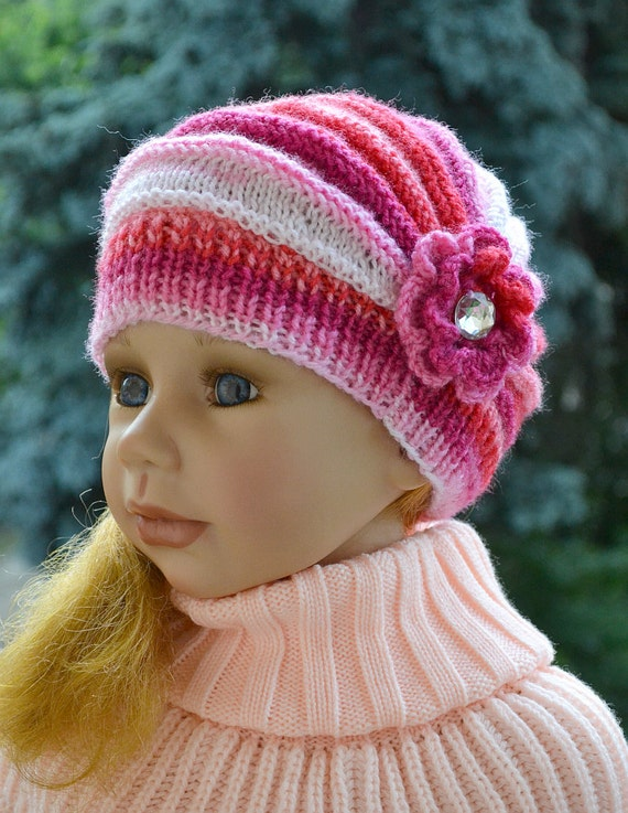 Knitting Kids Hat : Knitted children s hat cap red pink cream fuchsia by