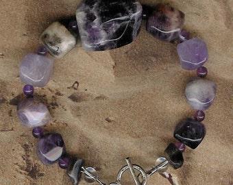 Bracelet - Amethyst, Rock Quartz, Sterling Silver
