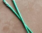 Hair Chopsticks Leaves Flower Petals White Teal Aqua