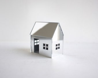 Acrylic mirror house - small reflective geometric architecture - silver metallic mirror structure - miniature shiny abode