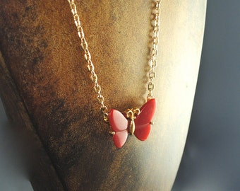 Vintage Small Red Butterfly Pendant 1960s