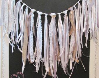 Tied Ribbon Garland, Vintage, Rustic Look  - Wedding / Event Supplies